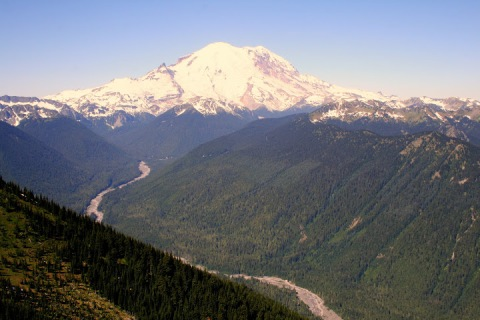 View of Mount Rainier with White River from Crystal Mountain Resort