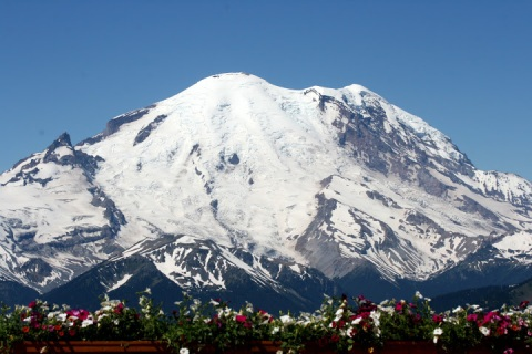 View of Mount Rainier from the terrace of the Summit House Restaurant at Crystal Mountain Resort