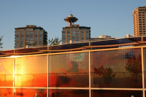 Space Needle at sunset, viewed from Olympic Sculpture Park