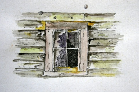 My ink and watercolor sketch of barn window