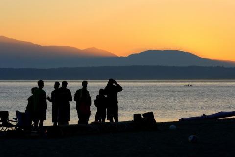 The sunset sky over Elliott Bay, Seattle