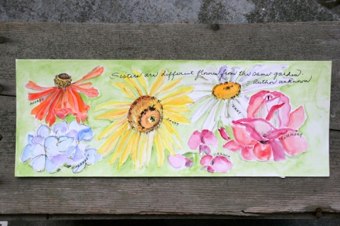 Watercolor sketch with sister quotation