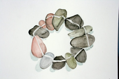 Watercolor sketch of circle of stones
