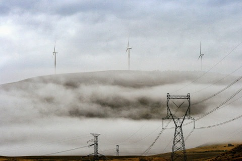 Old and new:  wind generators and power lines along the Columbia River