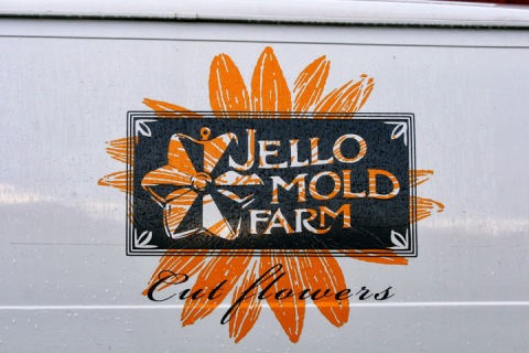 Sign on van, Jello Mold Farm