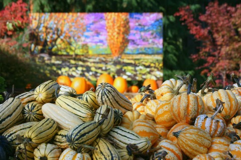 One of Eddie Gordon'ss paintings displayed outside with pumpkins and squashes