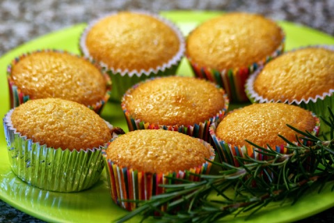 Lime Polenta Cakes with Rosemary Syrup