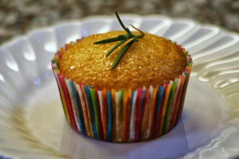 Lime Polenta Cupcake with Rosemary Syrup