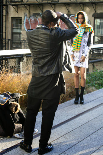 Photographer and model on the High Line