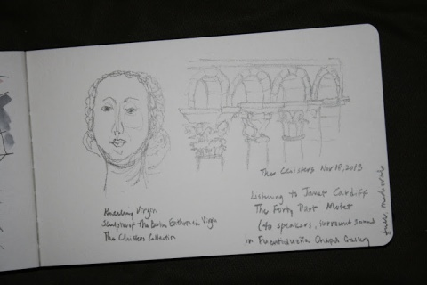 On-site pencil sketch, The Cloisters