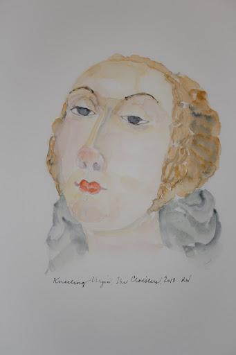 Watercolor sketch of the Kneeling Virgin