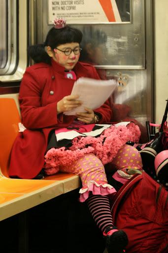 Clown sighting on a subway train
