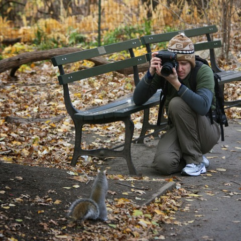 Photographer and squirrel in Central Park