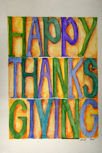 Watercolor sketch of Thanksgiving greetings