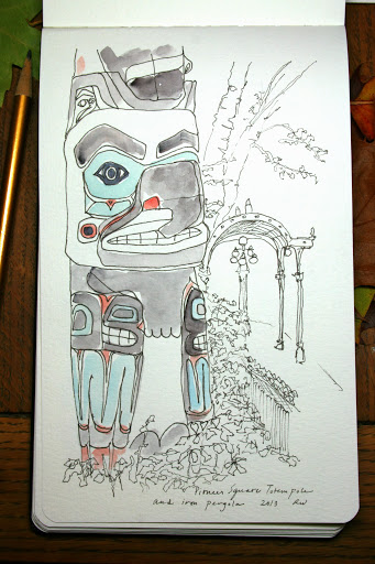 Ink sketch of Pioneer Square totem pole