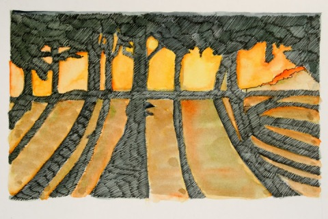 Ink and watercolor sketch of trees at dawn, Green Lake