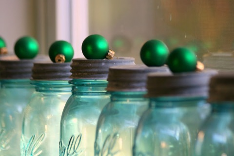Small ball ornaments on vintage Ball jars
