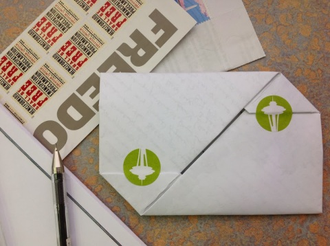 I like to use stickers to keep the letter private.