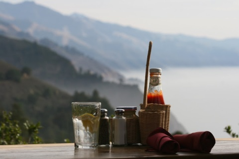 Our lunchtime view of the Big Sur coastline from the deck of the Nepenthe Restaurant