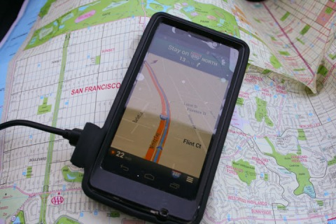 GPS driving app vs. the paper map