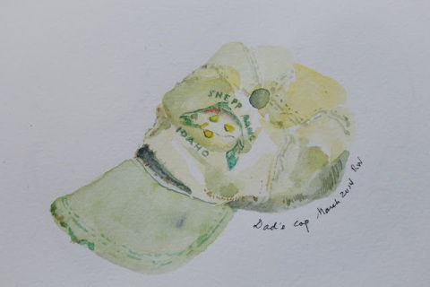 Watercolor sketch of one of Dad's favorite caps