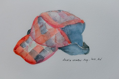 Watercolor sketch of my Dad's winter cap with ear flaps