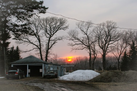 Sunset at the farm, early Spring