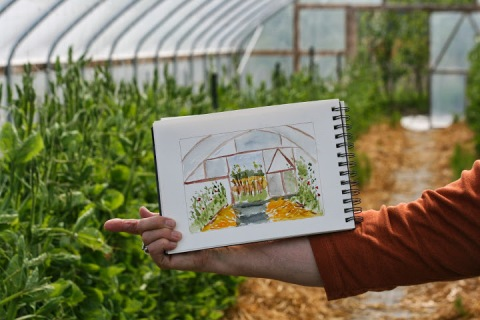 Bonnie's watercolor painting of a greenhouse