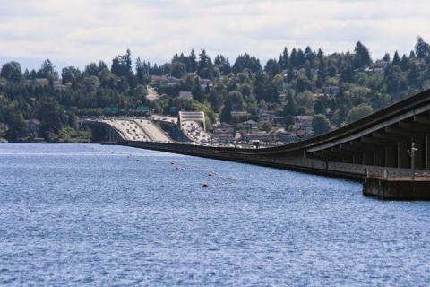 I walked past the I-90 floating bridge across Lake Washington