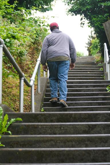 Steep stairway up Thayer St