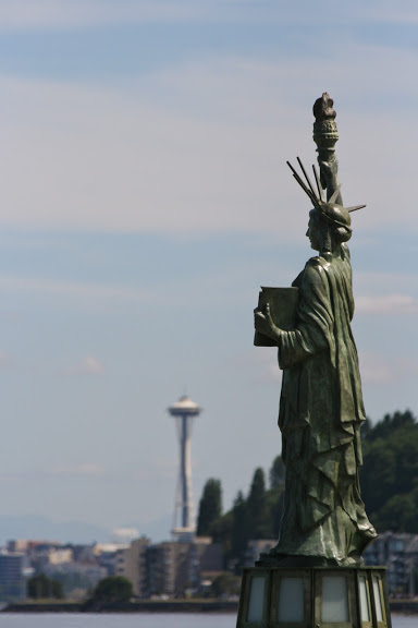 Alki has its own miniature replica of the Statue of Liberty, which commemorates the 40th anniversary of the Boy Scouts.