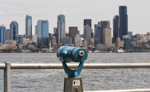 View of downtown Seattle skyline from Alki