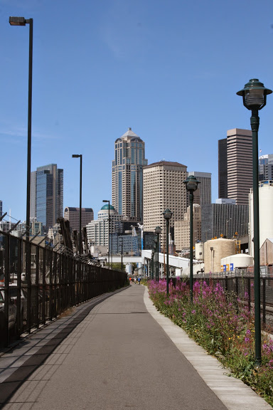 Bike path into downtown Seattle