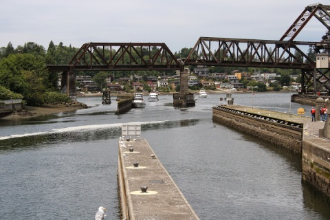 Boats waiting to enter the locks