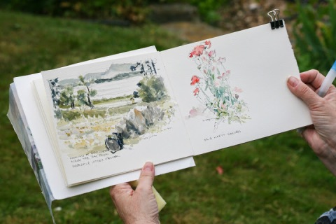 The sketchbook of one of the Let's Sketch Bay View participants, Michele Cooper