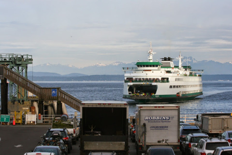 Ferry arriving at the Seattle Ferry Terminal