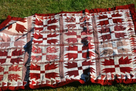 Finished quilt top, ready to hand quilt