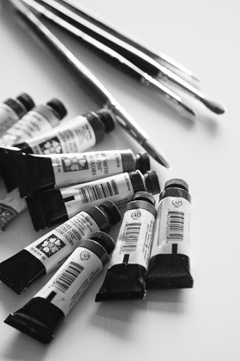 My tubes of watercolor paints and brushes