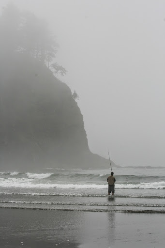 Surf fishing at Second Beach