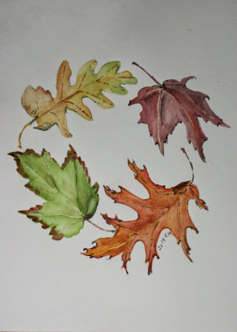 Circle of fall leaves, watercolor sketch
