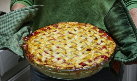 My sister-in-law's strawberry rhubarb pie.  (Thanks, Cynthia.)