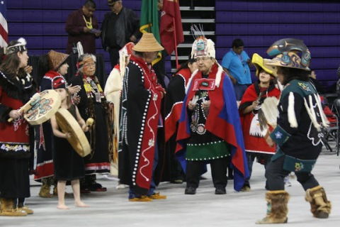 Coastal tribes at the UW First Nations Powwow