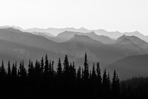 Watching the sunrise at Sunrise Point, Mount Rainier