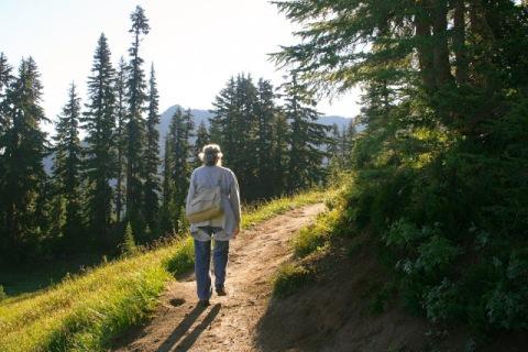Hiking the naches Peak Loop Trail near Mount Rainier