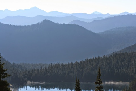 View of Cascade Mountains and Dewey lake from Naches Peak Loop Trail