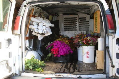 Van loaded with cut flowers, ready for the market