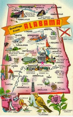 Vintage postcard of Alabama