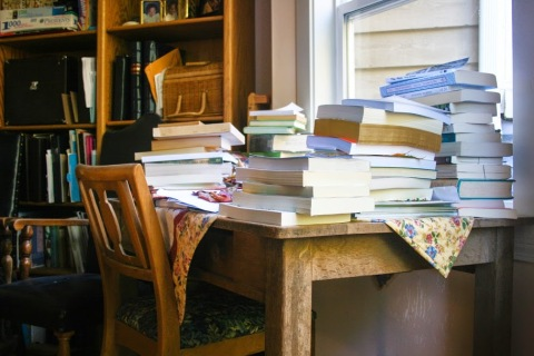 Just one of the places in our house that is overwhelmed by books