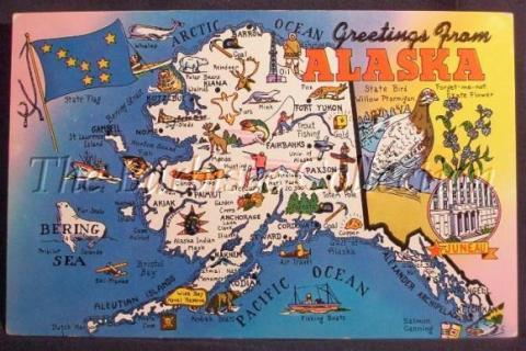 Vintage postcard of Alaska