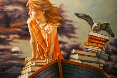 """Detail of painting by Jeff Weeks, """"Three Moons,"""" Bainbridge Art Museum"""